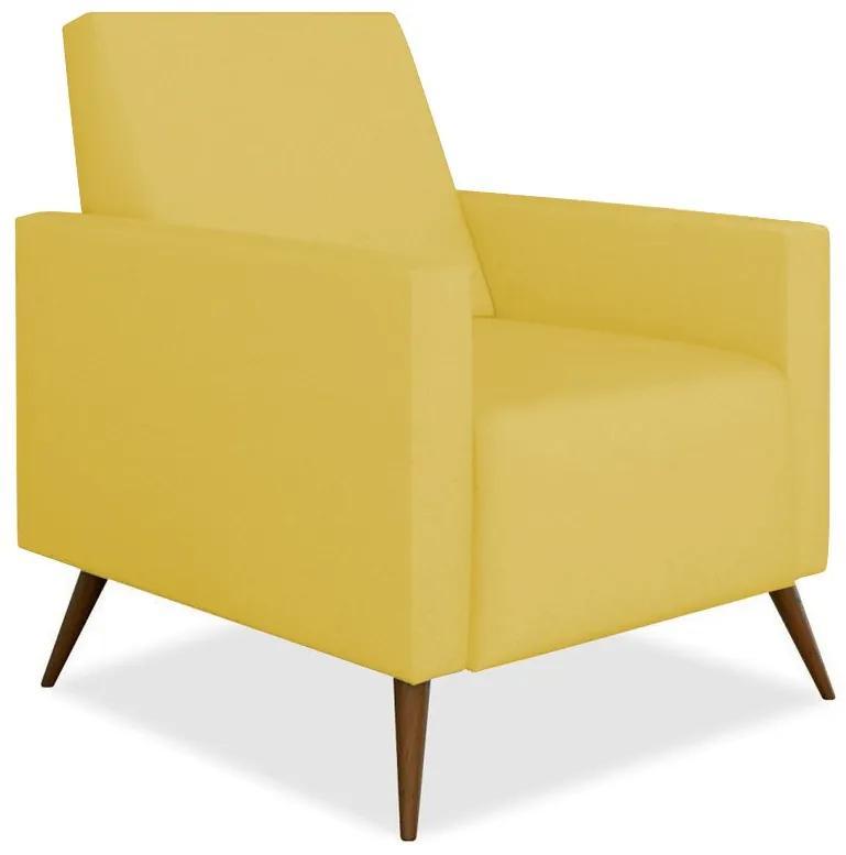 Poltrona Decorativa Amamentação Gabi Pé Palito Suede Amarelo