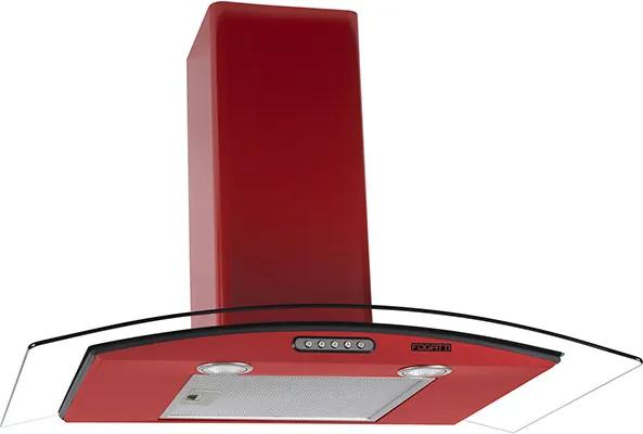 Coifa em Vidro Curvo Slim Vermelho de 80 cm - 220 Volts