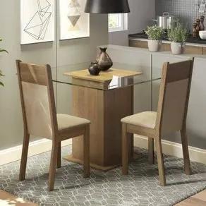 Conjunto Sala de Jantar Madesa Moni Mesa Tampo de Vidro com 2 Cadeiras Rustic/Crema/Pérola Cor:Rustic/Crema/Pérola