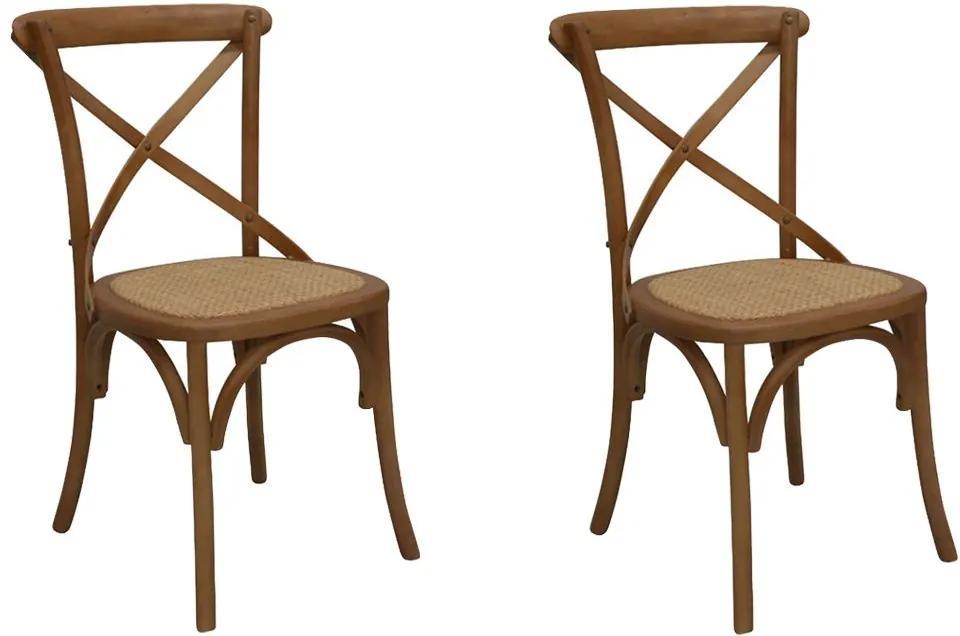 Kit 2 Cadeiras Decorativas Sala De Jantar Cozinha Danna Rattan Natural Bétula- Gran Belo