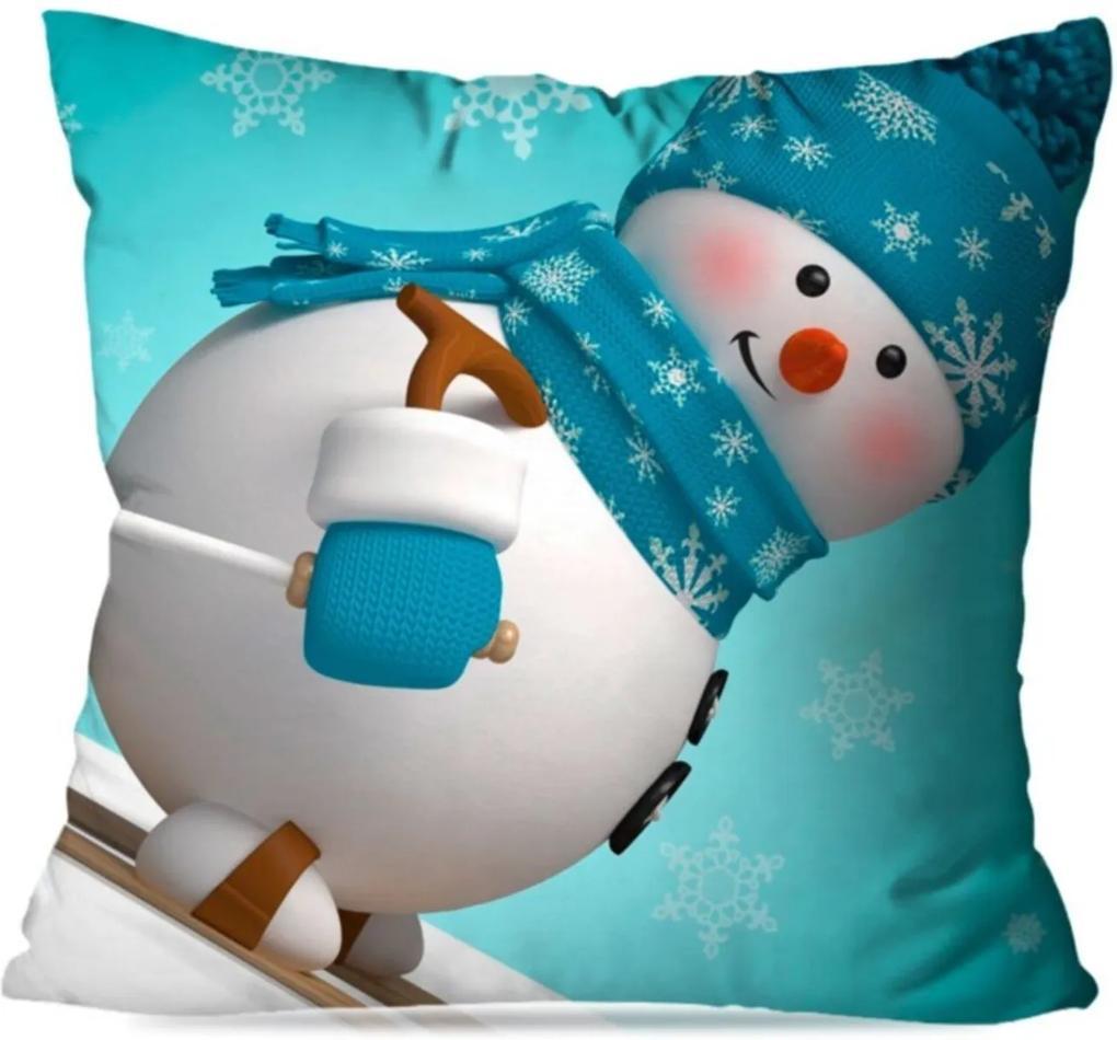 Capa de Almofada Avulsa Decorativa Happy Snowman 35x35cm