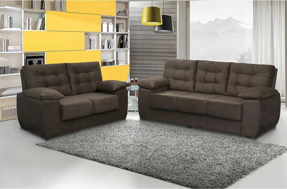Conjunto De Sofá Luxemburgo 3 E 2 Lugares Tecido Suede Liso Café - Moveis Marfim
