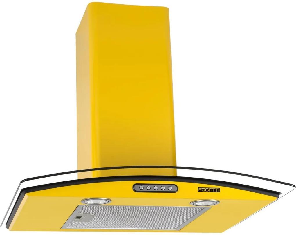 Coifa de Parede Vidro Curvo Duto Slim 60 cm Amarelo 127v - Fogatti