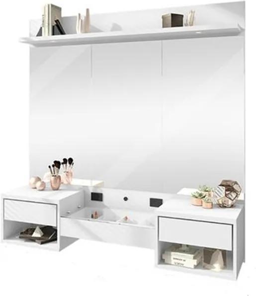 Penteadeira Suspensa com LED e Espelho Florence Branco - Rv Moveis