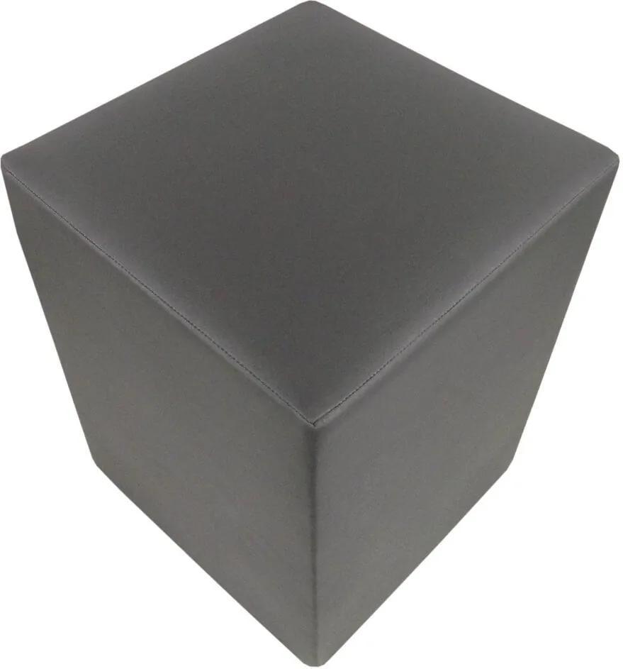 Pufe Pop Couro Sintético Cinza Escuro