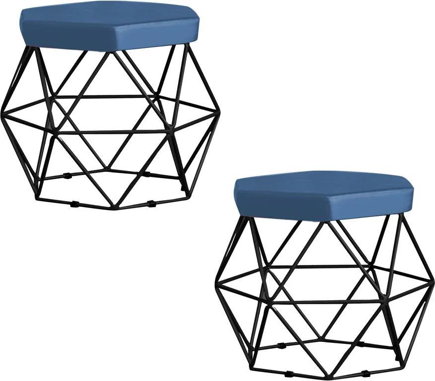 Kit 2 Puff Decorativo Base Preta Elsa Suede Azul Marinho - Gran Belo