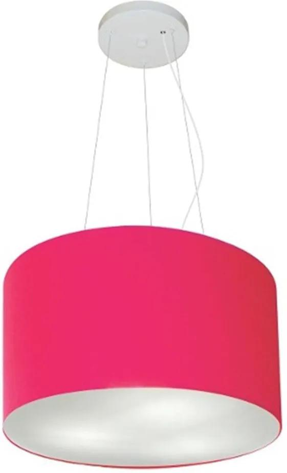 Lustre Pendente Cilíndrico Md-4009 Cúpula em Tecido 40x21cm Rosa Pink - Bivolt