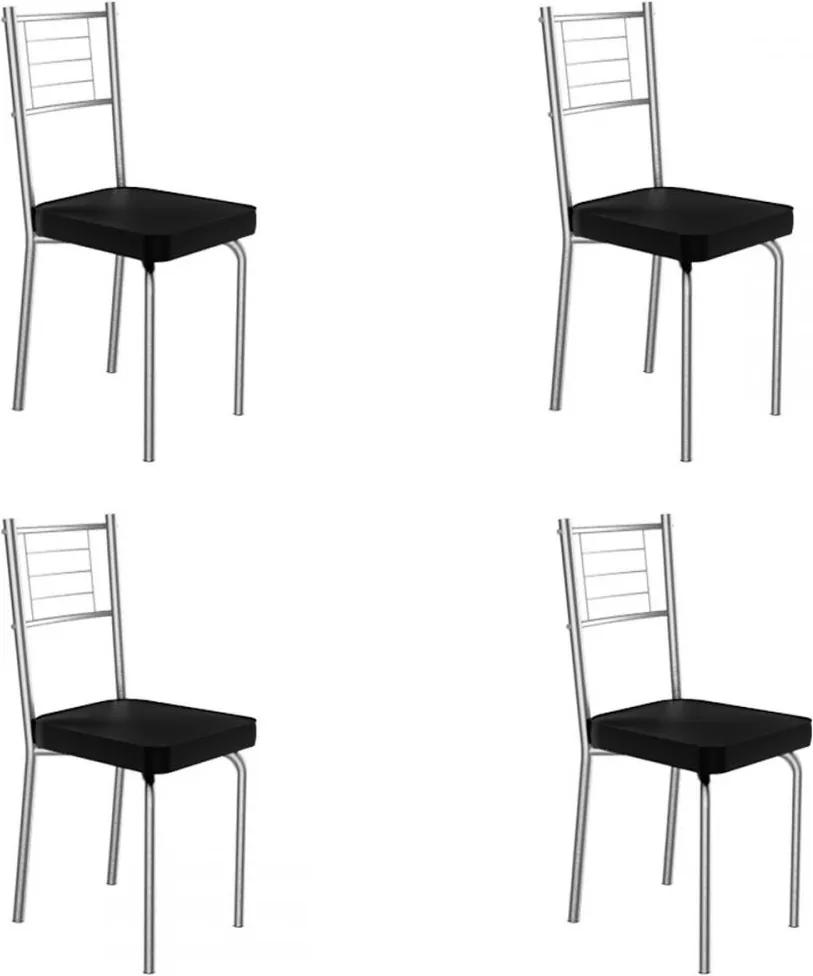 Cadeiras Kit 4 Cadeiras Juliana Cromado/Preto - Art Panta