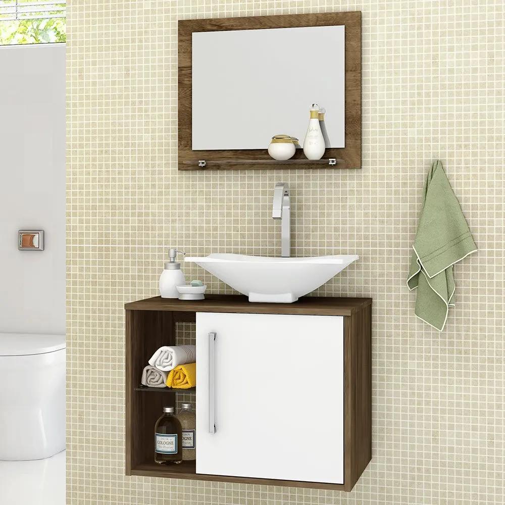 Armário de Banheiro Baden Madeira Rústica/Branco - Móveis Bechara