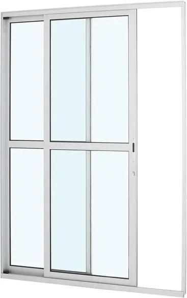 Porta de Alumínio de Correr Alumifort Branca com Divisão Central 2 Folhas Abertura Esquerda 216x160x8,7 - Sasazaki - Sasazaki