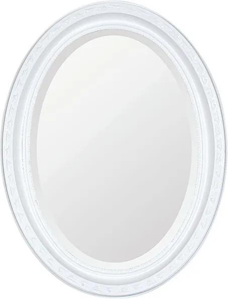 Espelho Oval Bisotê Branco Puro Pequeno