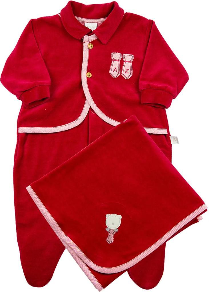 Jogo Saida de Maternidade Ano Zero Plush Gravatas Vermelho