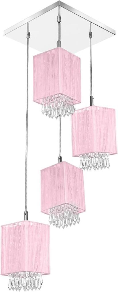 Lustre Pendente Quadclear Organza Quadrado Rosa Magnífico
