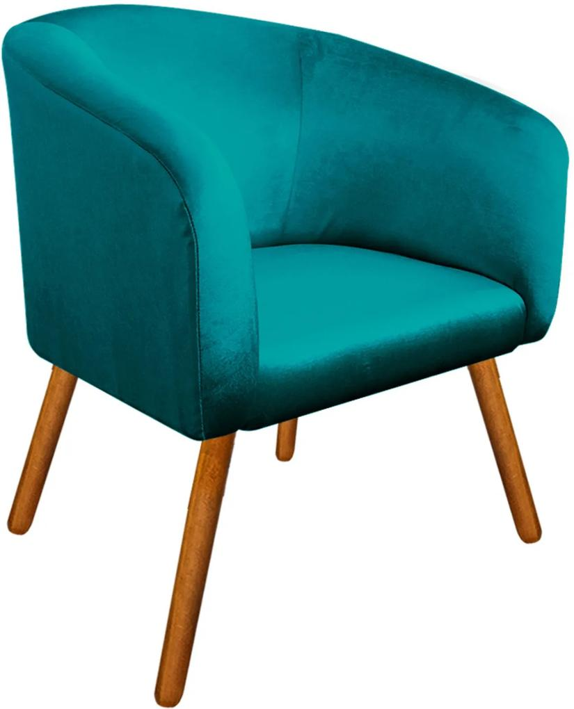 Poltrona Decorativa Stella Acetinado Azul Pés Palito - D'Rossi