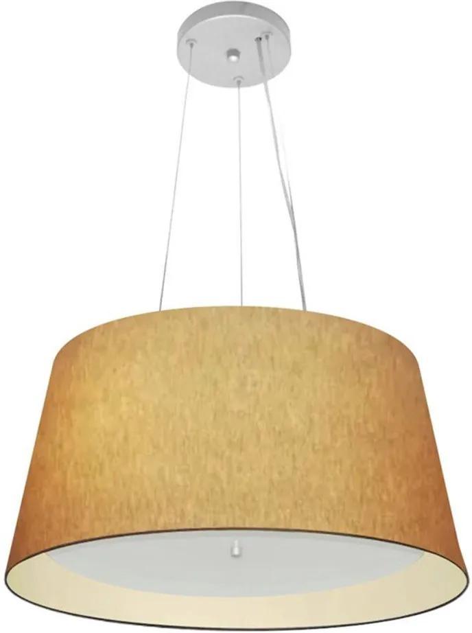 Lustre Pendente Cone Md-4144 Cúpula Forrada em Tecido 25x50x40cm Palha / Bege - Bivolt