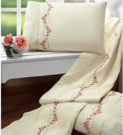 Roupa de Cama Casal Queen Bouquet 100% Algodão 200 Fios 04 Peças - Palha