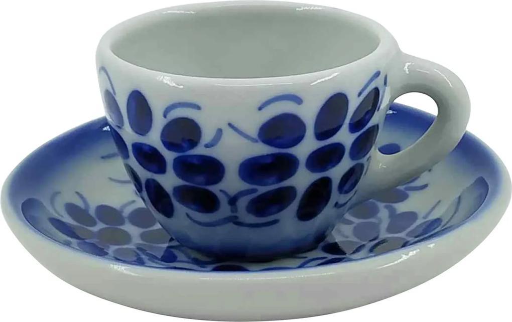 Xícara de Café e Pires em Porcelana Azul Colonial 50 ml