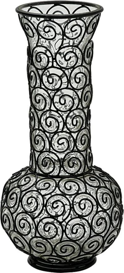 vaso BERNE vidro e ferro preto ilunato AJ0035