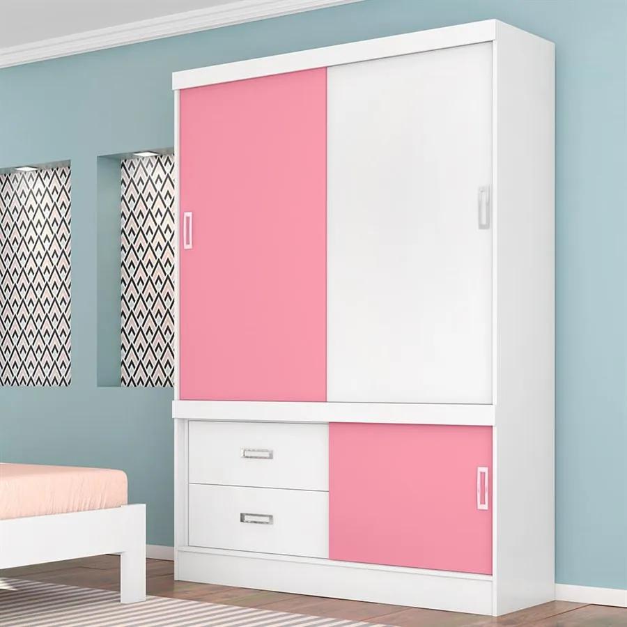 Guarda-roupa Madalena C/ 3 Portas Branco / Rosa Flex