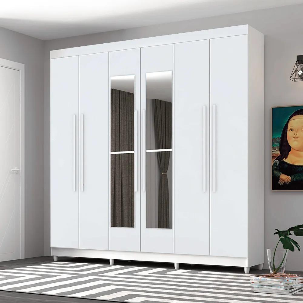 Guarda Roupa Elegance 6 Portas Com Espelho Branco - Vila Rica
