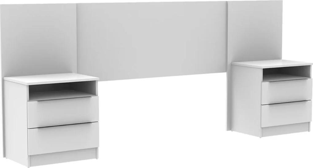 Cabeceira extensível Madesa de madeira 4 Gavetas Branco