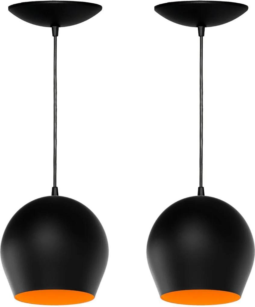 Kit 2 Pendentes Bola (preto Textura / Laranja)