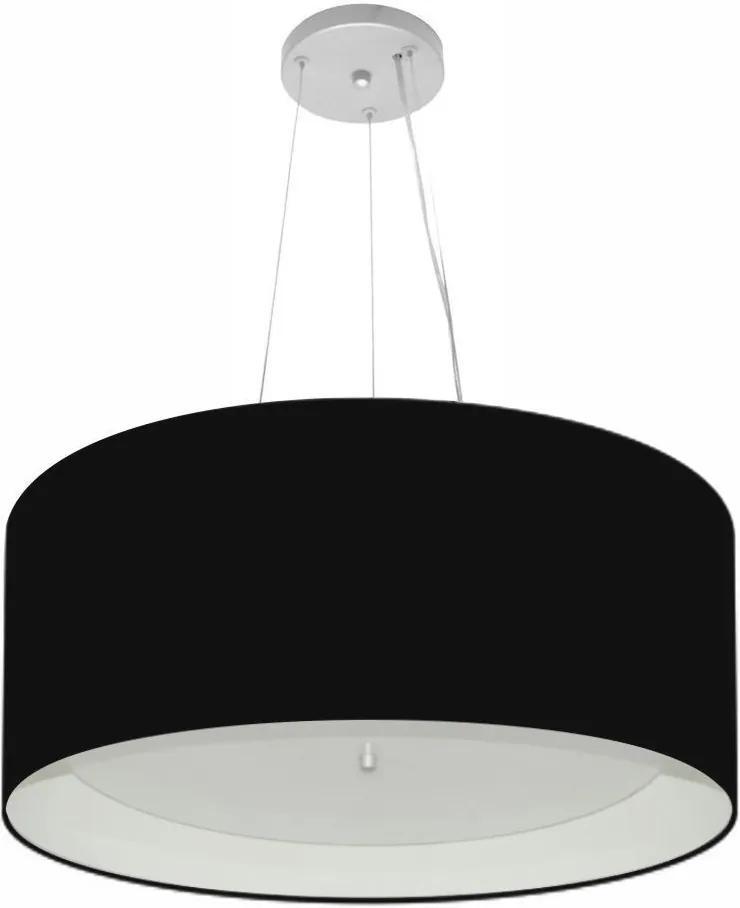 Lustre Pendente Cilíndrico Md-4145 Cúpula Forrada em Tecido 50x25cm Preto / Branco - Bivolt