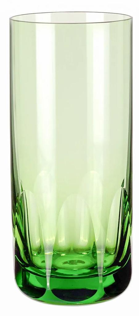 Copo de Cristal Lapidado Artesanal Long Drink - Verde Claro - 45