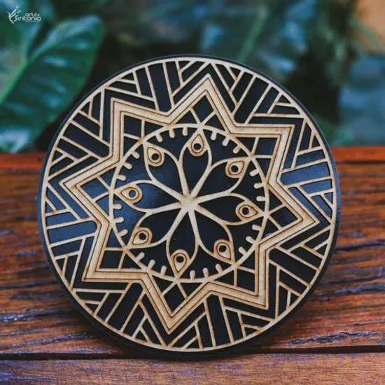 Mandala Decorativa em MDF Preta