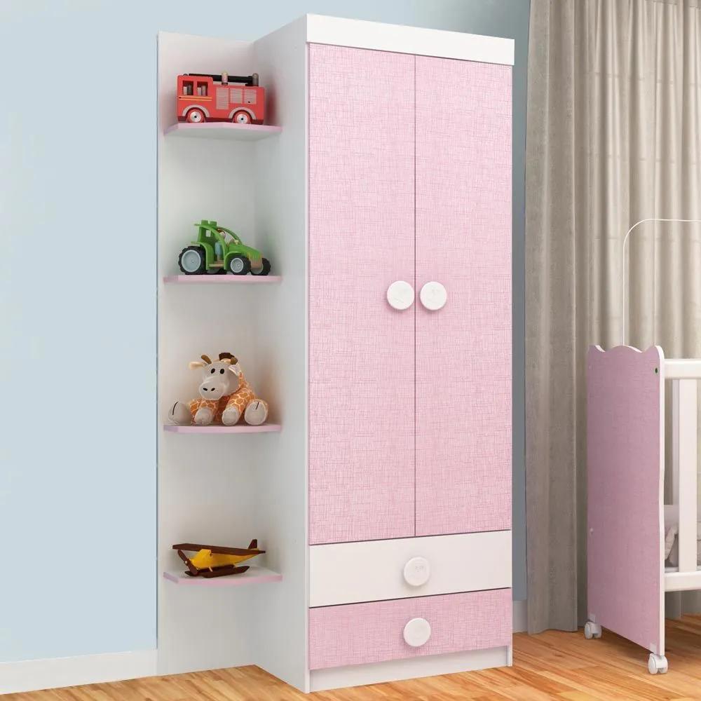Guarda-roupa de Bebê 2 Portas Com Prateleiras Arco Íris 65d229 Branco/Rosa - Rodial