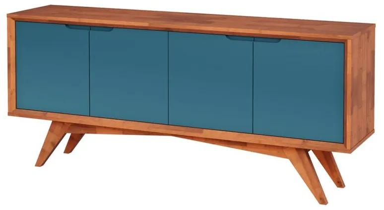 Buffet Querubim 4 Portas Natural e Azul - Wood Prime MP 27587