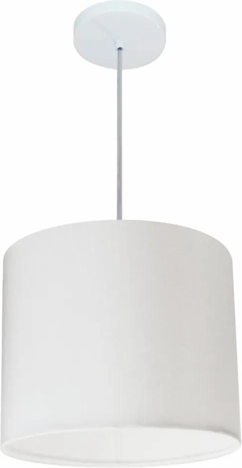 Lustre Pendente Cilíndrico Md-4054 Cúpula em Tecido 30x21cm Branco - Bivolt