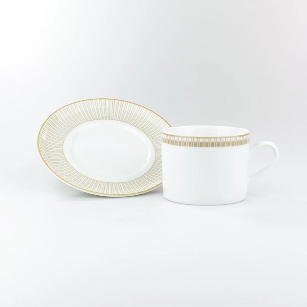 Xícara Chá Com Pires 200 ml Porcelana Schmidt - Dec. Vera