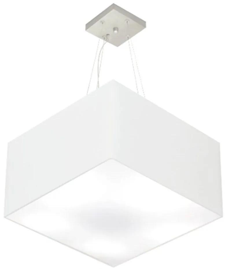 Lustre Pendente Quadrado Md-4199 Cúpula em Tecido 30/60x60cm Branco - Bivolt
