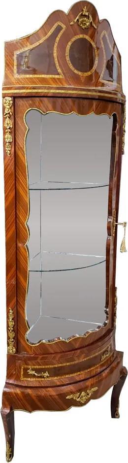 Cristaleira de Canto Clássica com Apliques em Bronze - 44x146x77cm