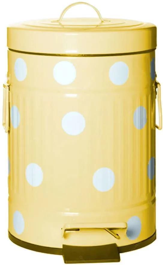 Lixeira Cute Dots Poás Amarela com Pedal em Metal - 3 Litros
