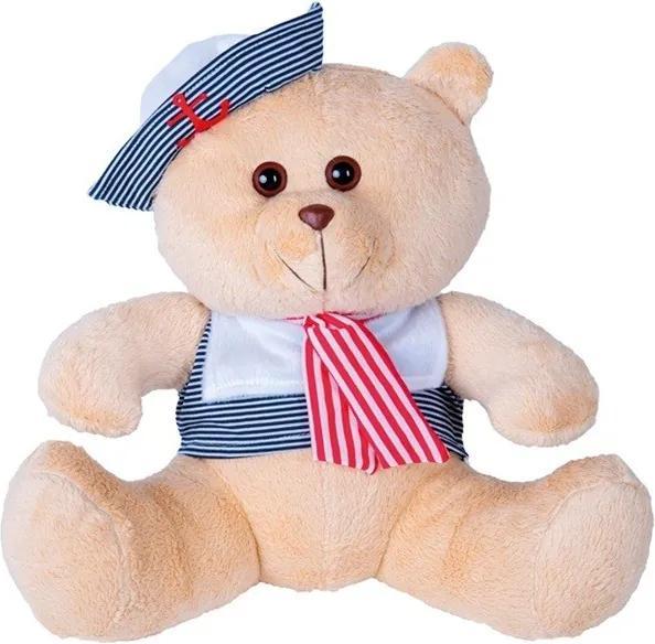 Urso Soft Pequeno Marinheiro Marinho e Vermelho com Chapéu Âncora