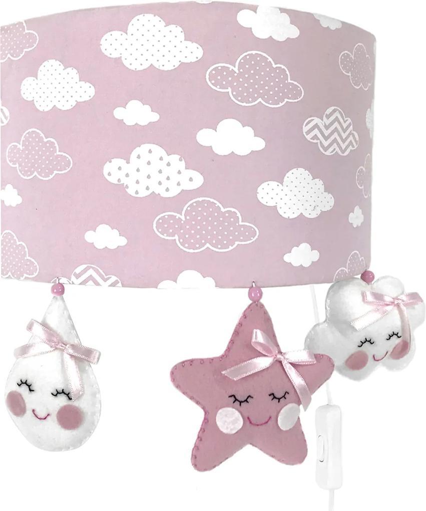 Arandela Meia Lua Chuva de Amor Rosa Quarto Bebê Infantil Menina