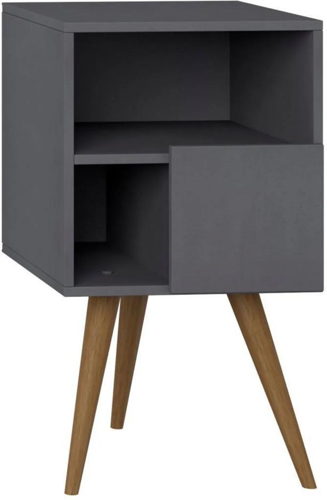Mesa de Cabeceira com Porta Lyam Decor Retrô Preto