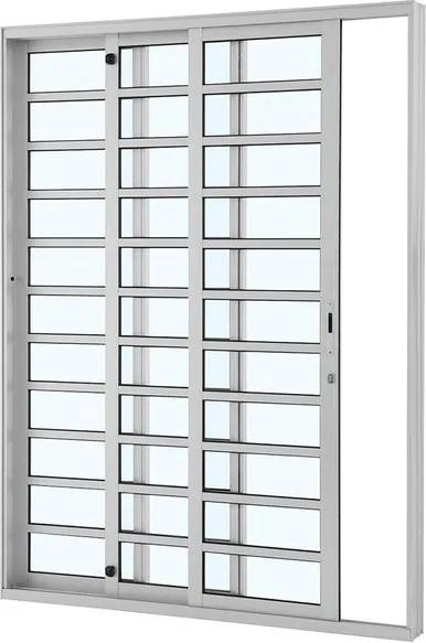 Porta de Alumínio de Correr Alumifort Branca com Divisão 3 Folhas Abertura Esquerda 216x160x12 - Sasazaki - Sasazaki