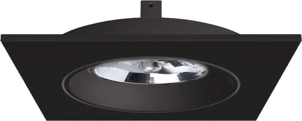 Plafon Embutir Aluminio Preto Ar111 Gu10 Face Plana Recuado