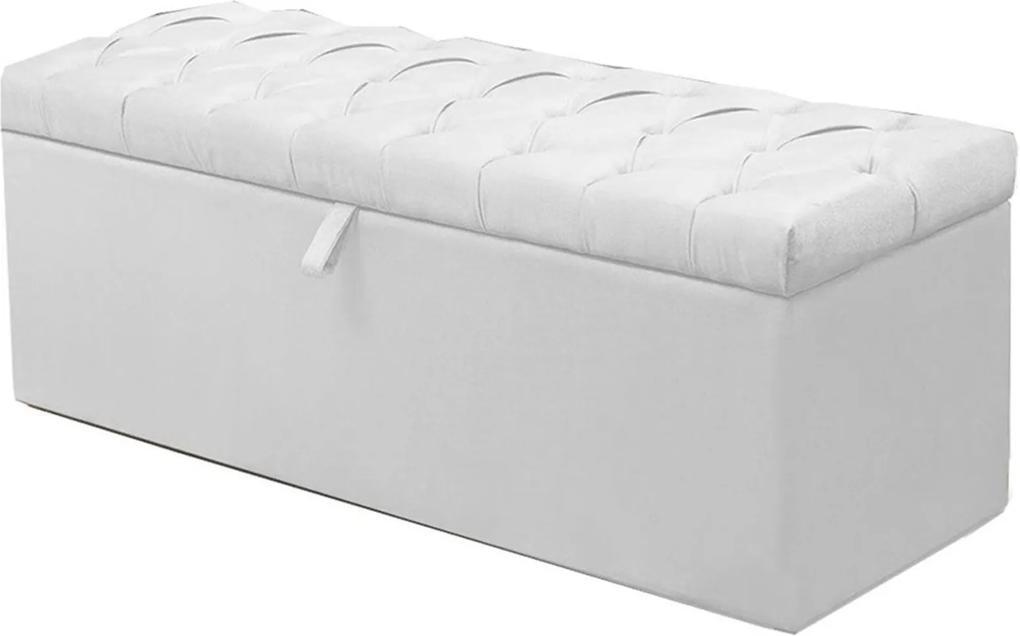 Calçadeira Recamier Baú Casal King 195 cm Italia Napa Branco - DS Móveis