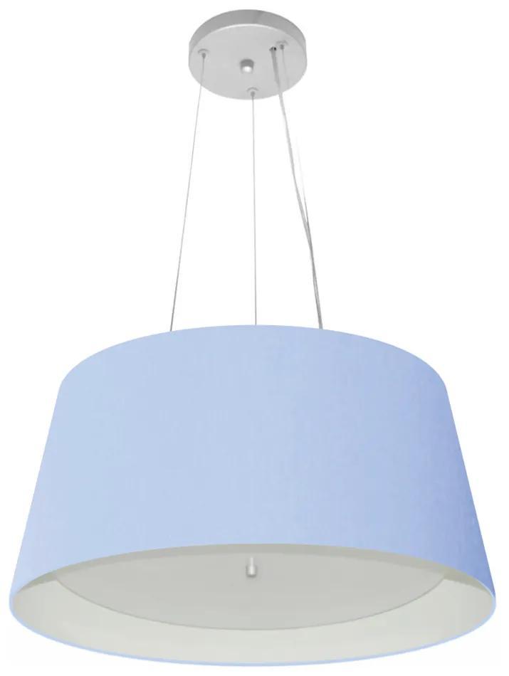 Lustre Pendente Cone Vivare Md-4144 Cúpula Forrada em Tecido 25x50x40cm - Bivolt - Azul Bebê / Branco - 110V/220V (Bivolt)