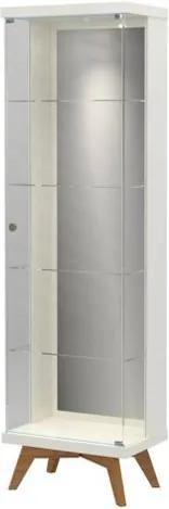 Cristaleira Espelhada Retro Argos com Led cor Off White com Freijo 1,80 MT (LARG) - 59047 Sun House