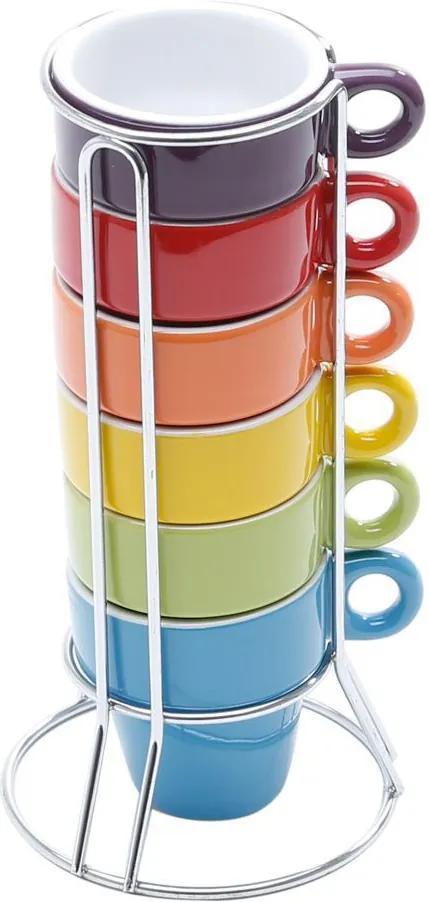 Jogo de Xícaras de Café Porcelana com Suporte Multicor