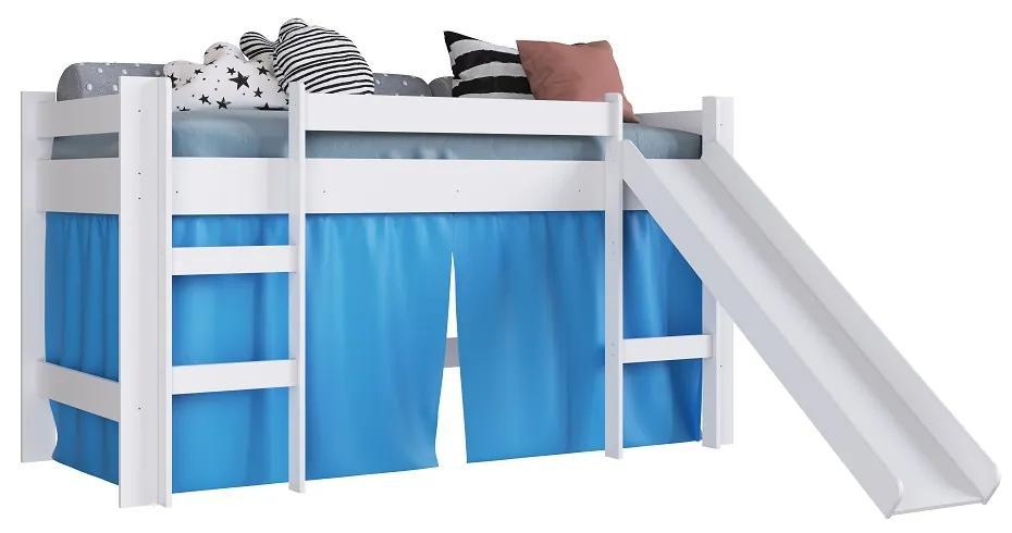 Cama com Escorregador BB1000 Branco/Azul - Completa Móveis