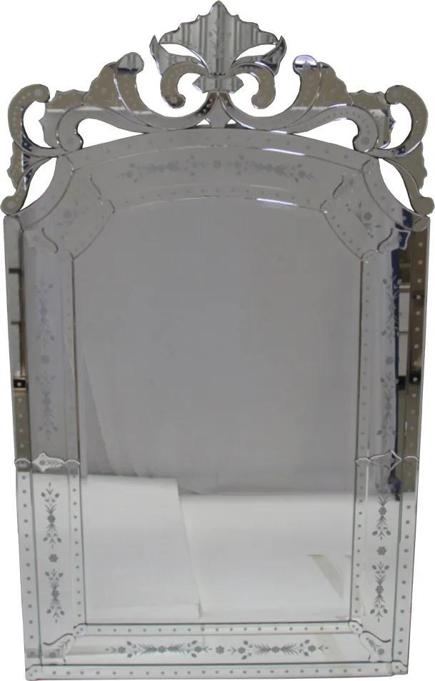 Espelho Clássico Veneziano com Moldura Prateada - 200x120 cm