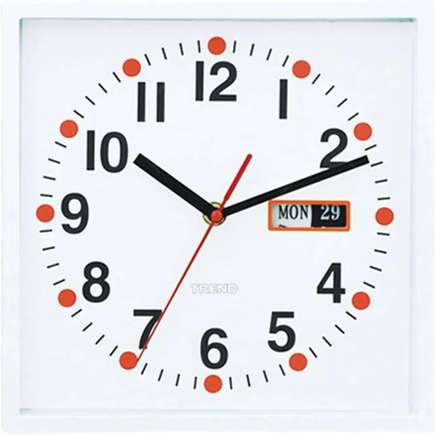 Relógio de Parede Quadrado com Calendário Branco - Urban - 24x24 cm
