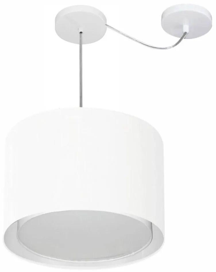 Lustre Pendente Cilíndrico Com Desvio Md-4312 Cúpula em Tecido 40x30cm Branco - Bivolt