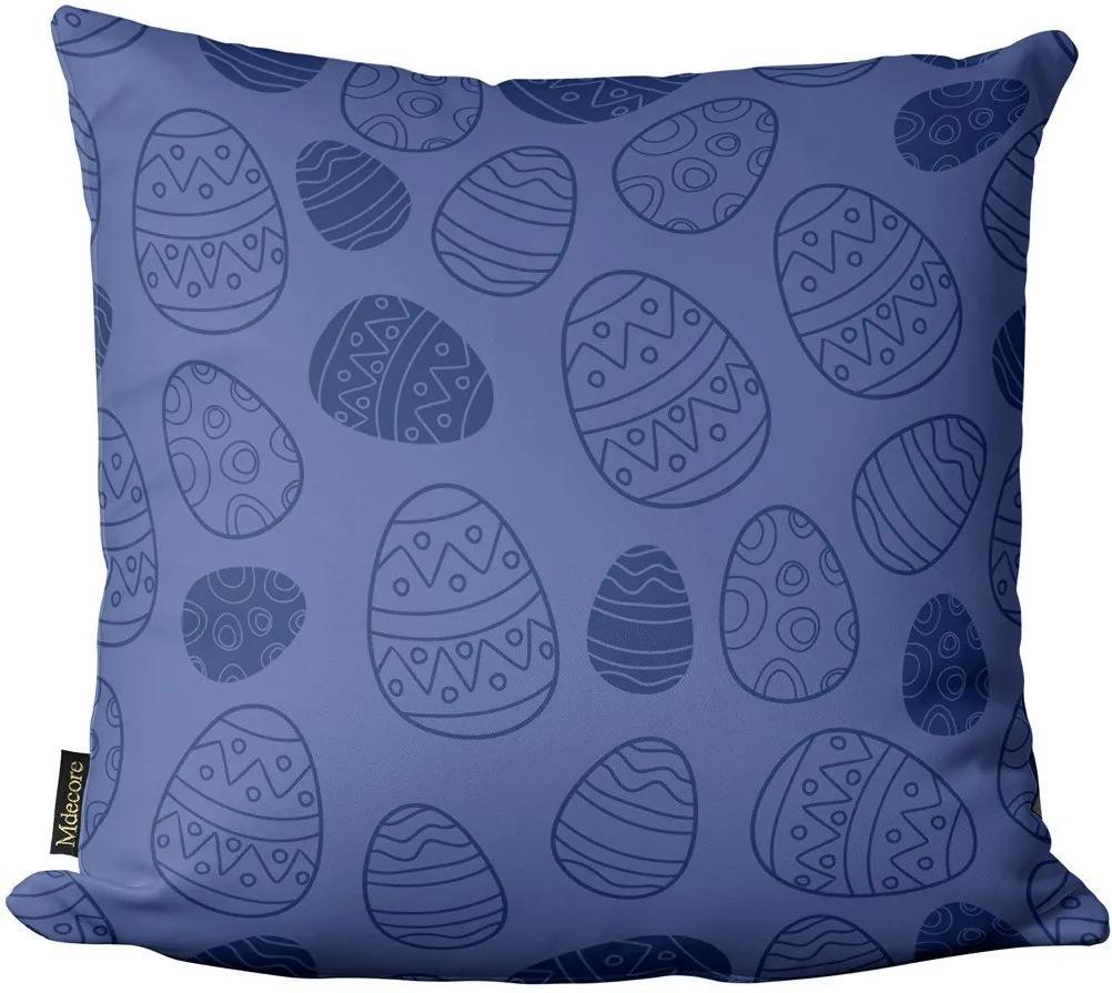 Capa para Almofada de Páscoa Ovos Azul Marinho 45x4545x45cm